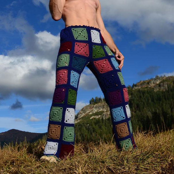 crochet pants blue squares