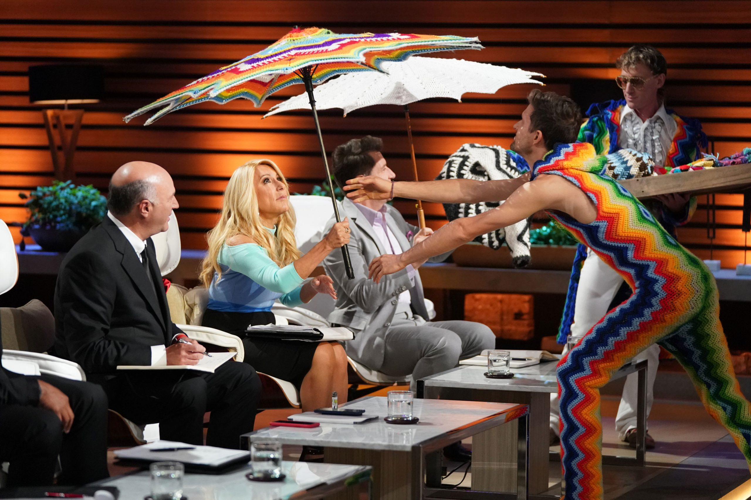 crochet rainbow parasol on shark tank